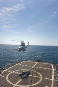 Firescout flies from USS Freedom (Littoral Combat Ship 1)