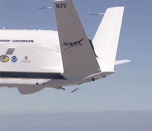 A NASA Global Hawk releasing a dropsonde. (Photo courtesy of NOAA/NASA)