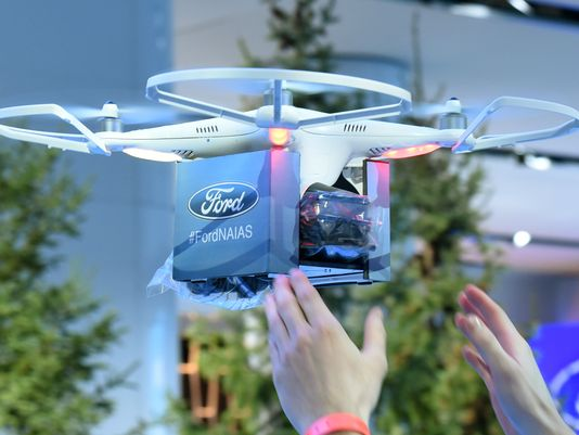 Ford's auto show drone back after safety check