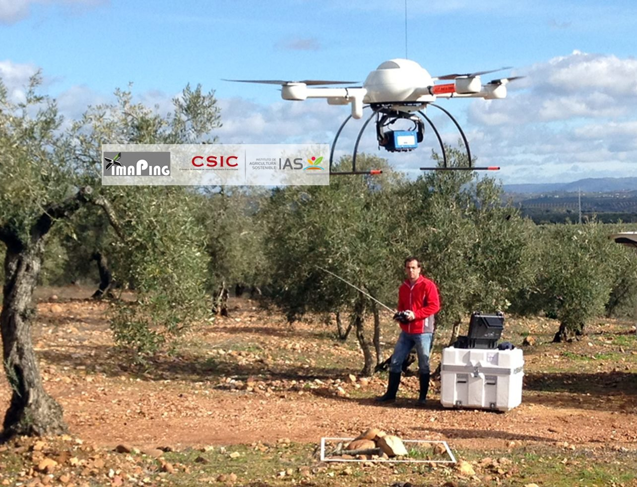 B. Drone being piloted by researcher Jorge Torres-Sánchez