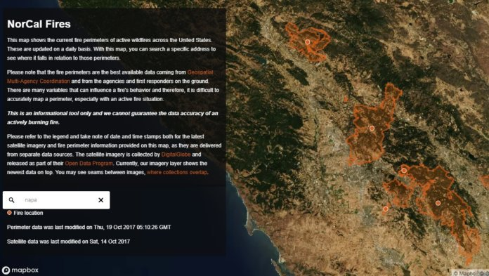 mapbox has published a new map to give people affected by the wildfires in northern california and across the us access to the most up to date information
